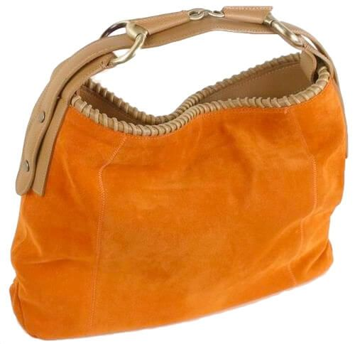 BE68 Beutel Tasche Wildleder Orange