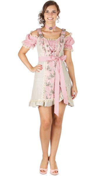 15073 Bergweiss Landhauskleid 50er Dirndl Natur Rose