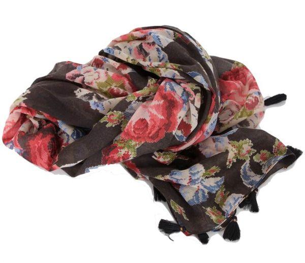 Sportalm Tuch Renate schwarz mit Blumen und Quasten