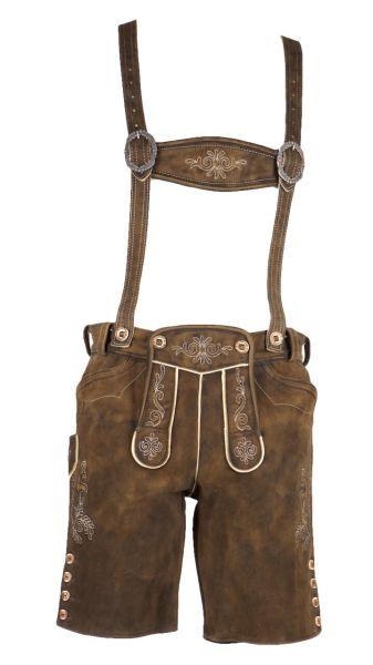 Jacherl kurze Lederhose mit Stegträger braun antik