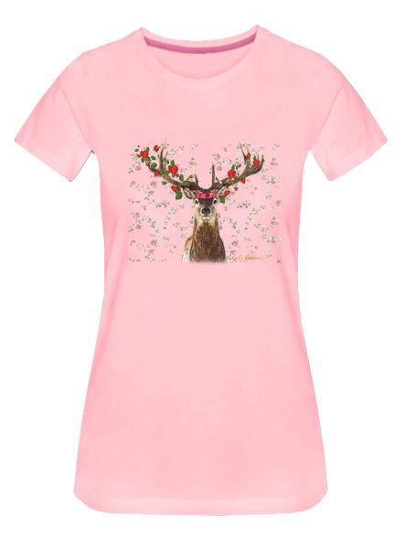 Lady Edelweiss Damen T-Shirt 20433 Hirsch Rosen Gr M Rosa