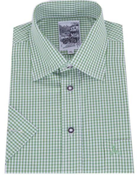 99209/2 Herren Trachtenhemd grün weiß karo kurzarm