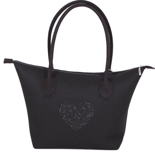 bag+ Trachtentasche Bernau XL schwarz Federkielstick schwarz