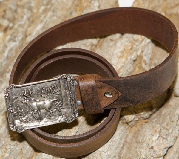 4004 Trachten Ledergürtel Rustic antik bison