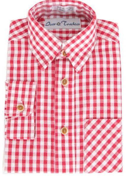 52915 Kinderhemd rot weiss Karo langarm