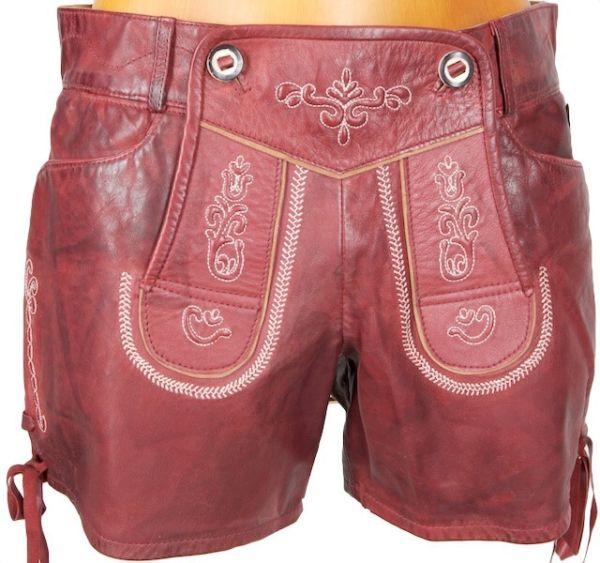 Reserl Damen Hotpant Leder Zanzara rot
