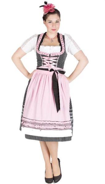 10897 Krüger Madl 70er Dirndl schwarz rosa
