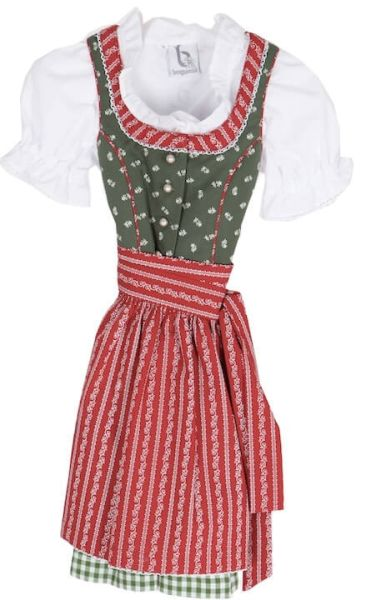 2069 Bergweiss Kinderdirndl mit Bluse grün rot