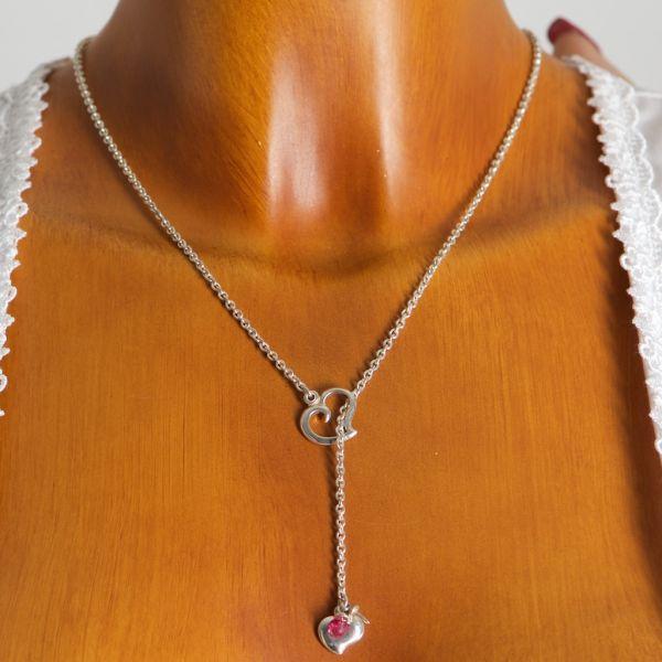 VH91023 Y-Halskette mit Herz und rosa Stein 925er Sterlingsilber