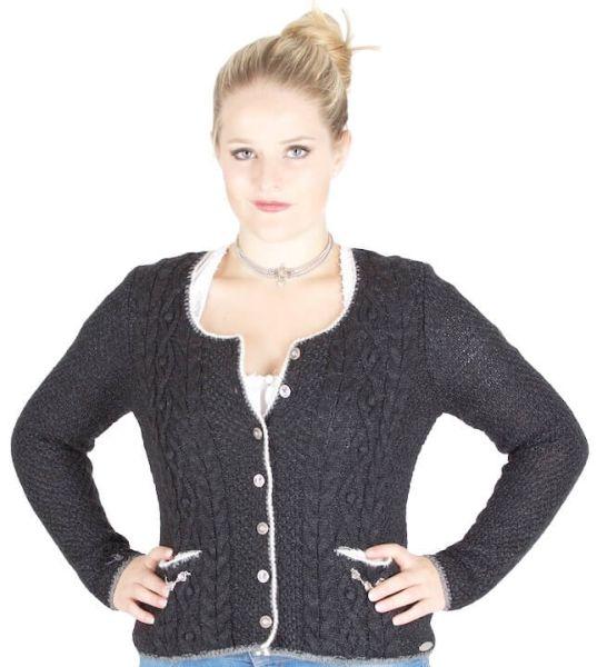 Damen Strickjacke Aida 240690-735/3458 schwarzmel grau wollweiß