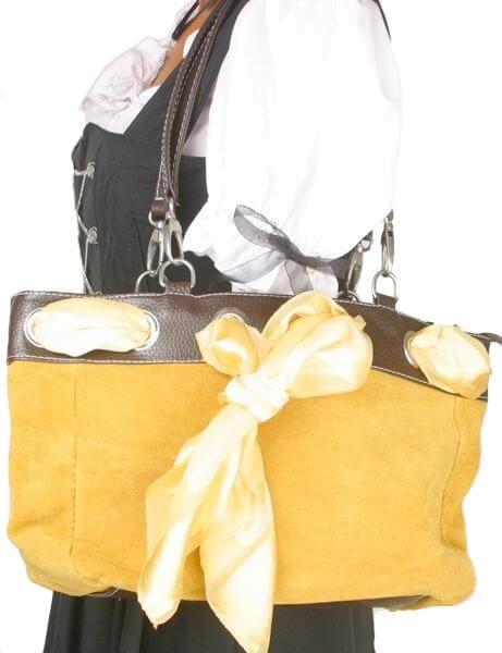 1461 Damen Schultertasche in velour maisgelb mit Tuch