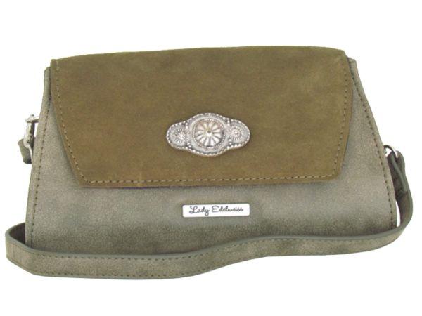 Lady Edelweiss Umhängetasche und Clutch 17501 oliv