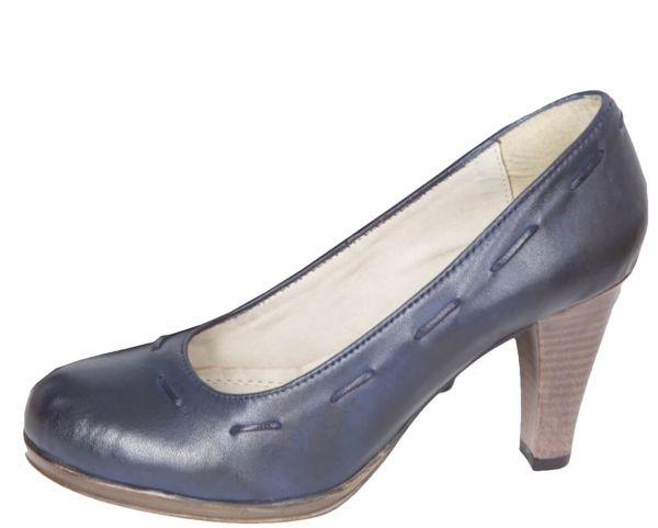 431 Yvonne Damen Leder Pumps Navi blau