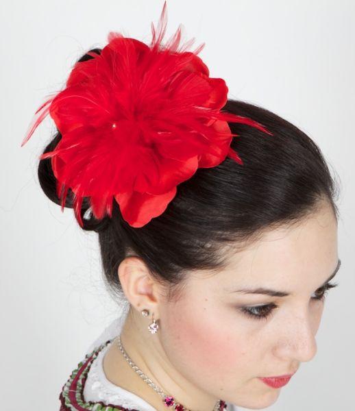 190194 Anstecker u Haarclip Blüte Federn rot