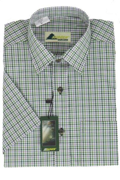 Skogen Herrenhemd 20511220 oliv karo 315 kurzarm