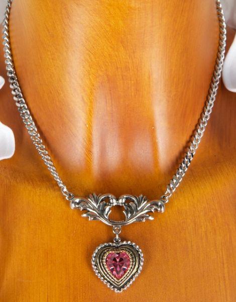 C603 Halskette mit Herz und Strassstein vers.Farben