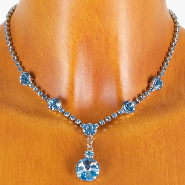 8685 Seibt Swarowski Strass Halskette aqua