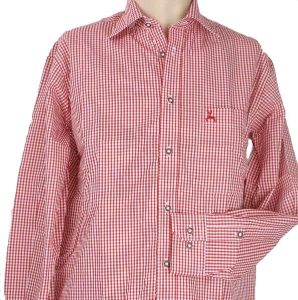 99209 Herren Trachtenhemd rot weiß karo