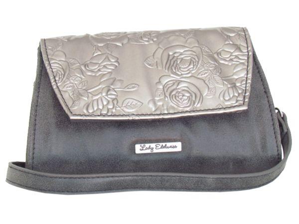 Lady Edelweiss Umhängetasche und Clutch 17502 schwarz silber