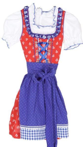 2055 Bergweiss Kinderdirndl mit Bluse rot cobaltblau