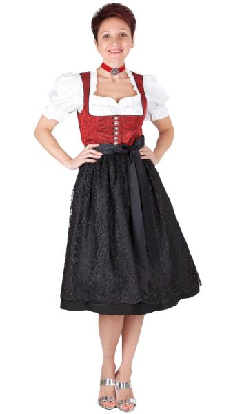 Kaiser Franz Josef Dirndl 16355 Wittensee 70er rot schwarz