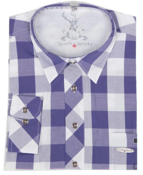 Spieth & Wensky Herren Trachtenhemd Huttrum purpel weiss